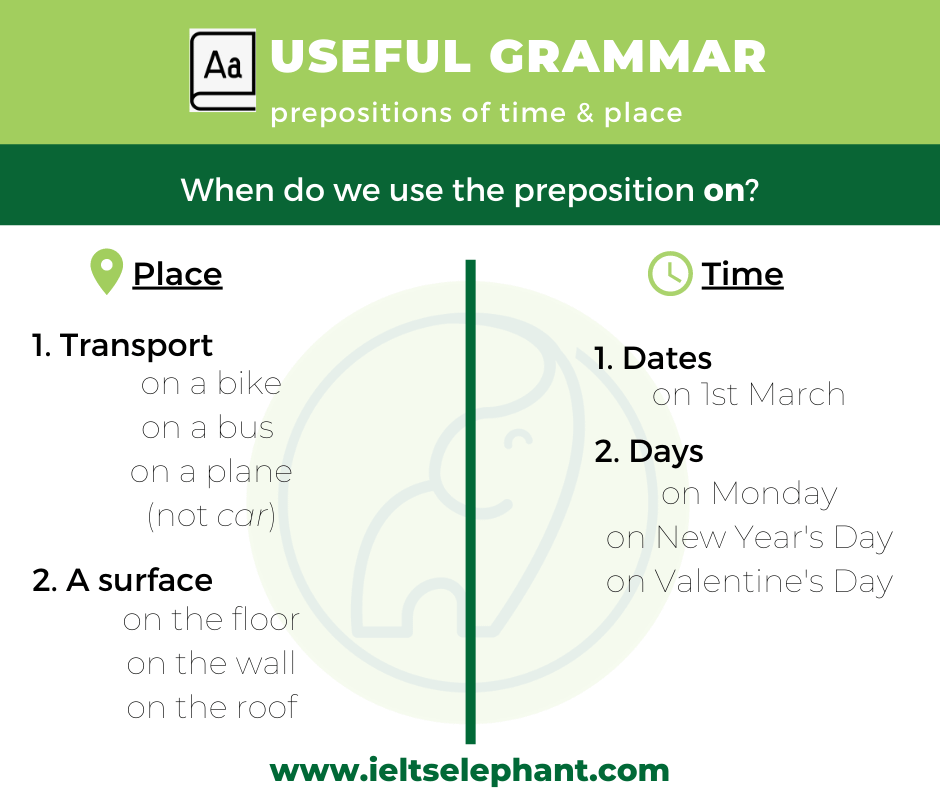 on - preposition of place & time